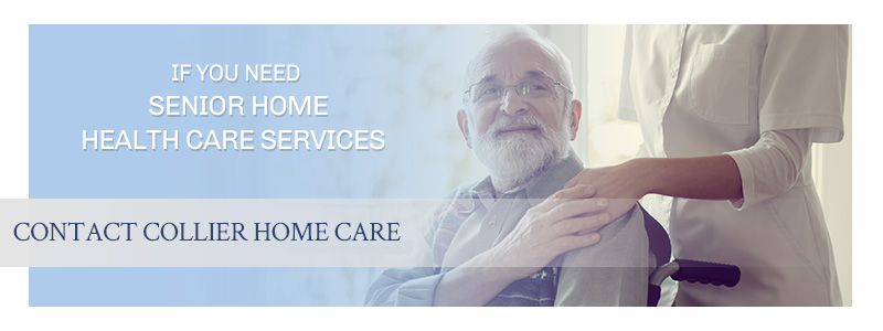 Call to action banner for home care services showing a smiling senior man.
