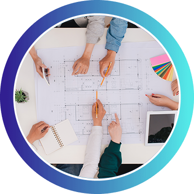 Professionals assessing building blueprints