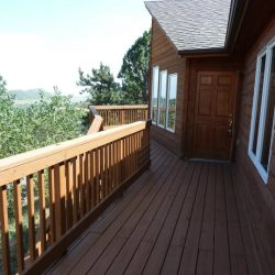 Rustic deck of Northern Colorado house that sold for an all cash offer