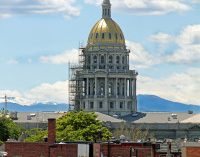The spire of the Colorado capitol building