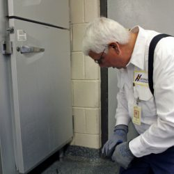 A Colorado Pest Management technician inspecting a refrigerator