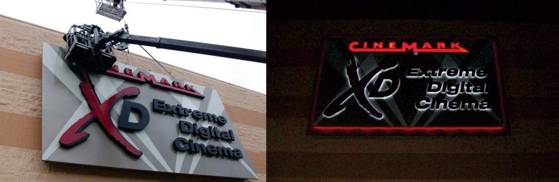 Illuminated Metal Sign Customized Movie Theater