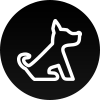 a white icon of a dog on a black background