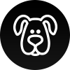 a white icon of a stylized drawing of a dog's head is on a black background