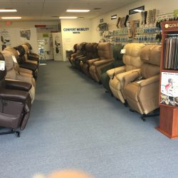The Comfort Mobility showroom showing power lift sleeper chairs and more - Comfort Mobility