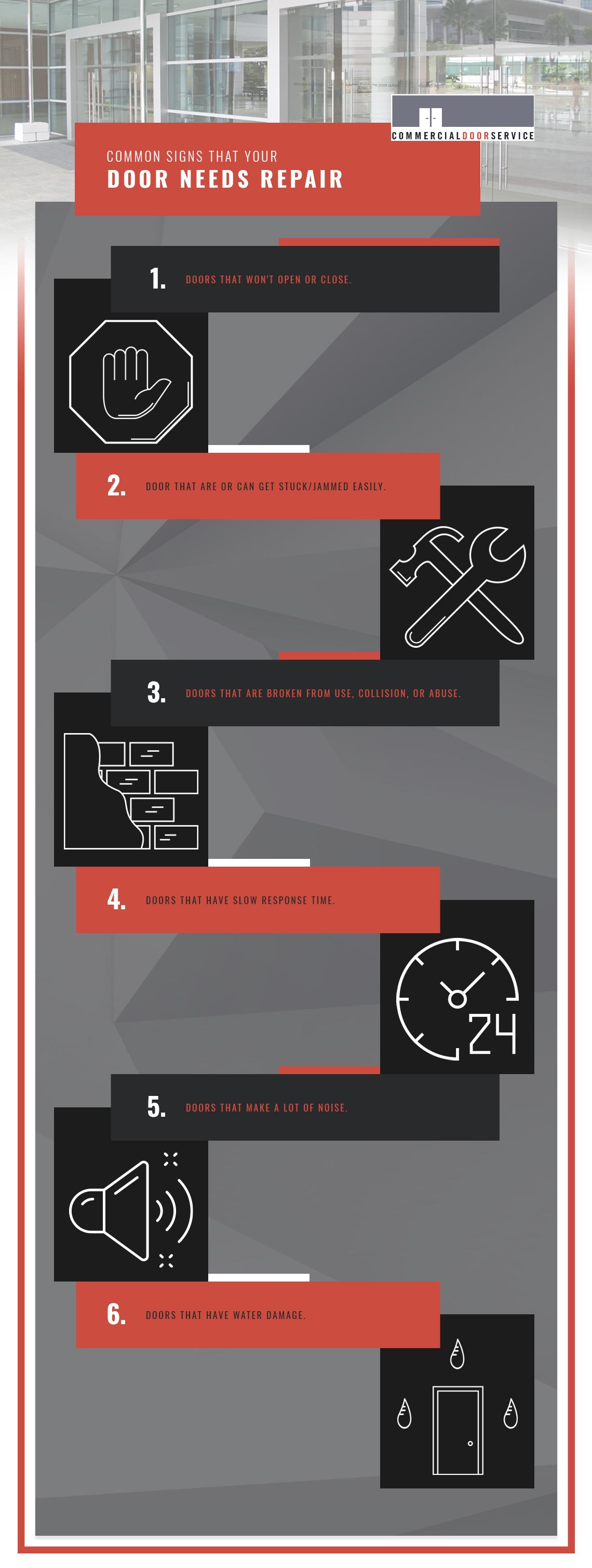 Common Signs That Your Door Needs Repair infographic.