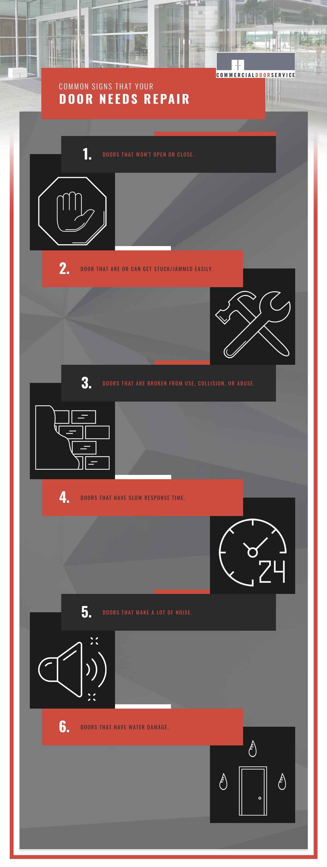 Common Signs The Your Door Needs Repair infographic.