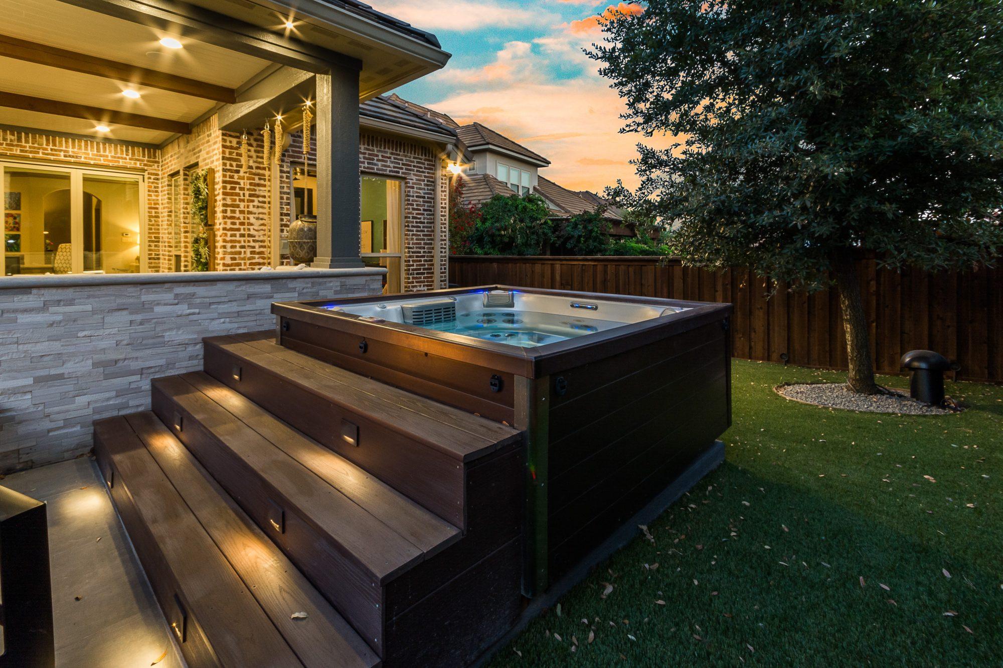 outdoor hot tub patio design by compass outdoor design dfw
