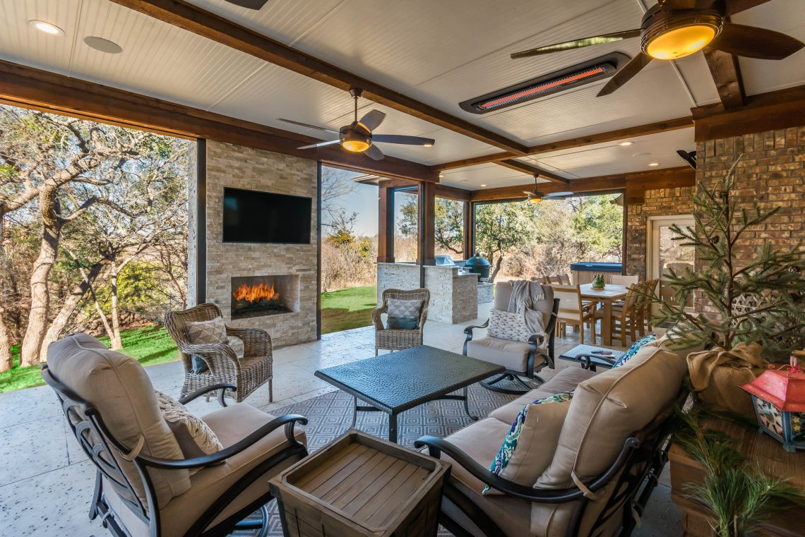 Outdoor living space tired of a boring backyard we can - Outdoor living spaces with fireplace ...