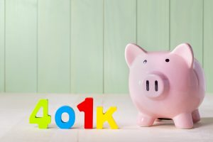 401K Retirement Account Theme With Wood Block Numbers And Piggy