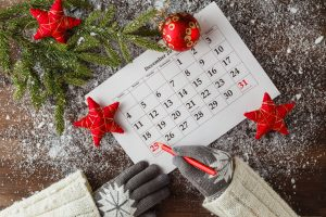 Calendar Or Christmas Day With Note Text Of Holiday ,concept For