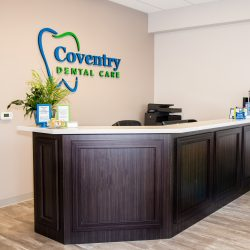 The front desk at our dental office at Coventry Dental Care.