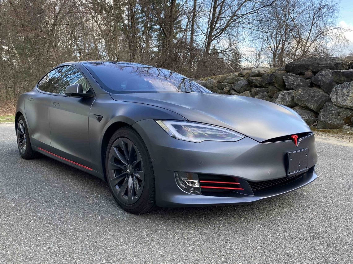 Tesla Model S Gets Full Stealth Paint Protection Film Wrap With Accents in dsalem, New Hampshire