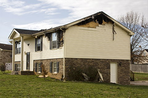 Image of a home affected by fire damage.