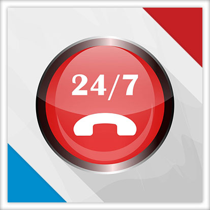Image of a large red circle with 24/7 and a phone icon in the center