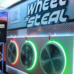 Event entertainment set-up for game show called Wheel of Steel