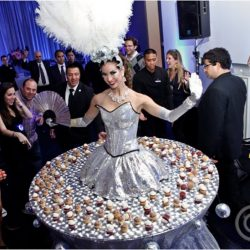 Drinks and beverages served on the skirt table within an elaborate, totally original Creative Games costume and theme.