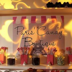 Full set up food concessions with Paris candy boutique style design from Creative Games