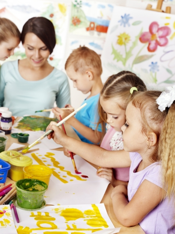 Children are encouraged to practice creative expression at Cross Timbers Preschool & Daycare in Owasso, OK.