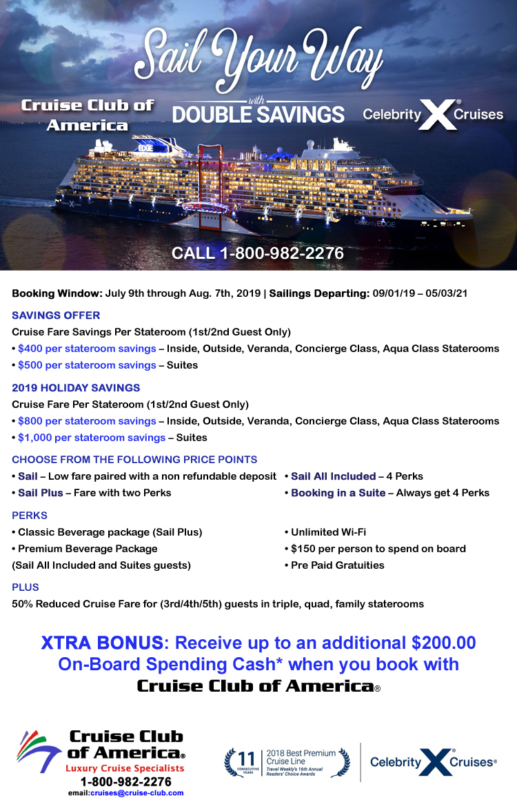 Celebrity Cruises Double Savings Sale, Save up to $1,000 per