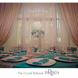 Blue & White Banquet Hall Decor at The Crystal Ballroom in Orlando