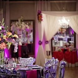 Purple & Pink Wedding Reception Decor at The Crystal Ballroom in Casselberry