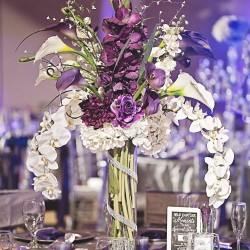 White & Purple Flora Centerpiece at The Crystal Ballroom in Casselberry