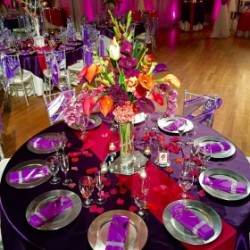 Purple & Black Wedding Reception Decor at The Crystal Ballroom in Casselberry