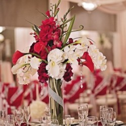 Red & White Wedding Centerpiece at The Crystal Ballroom in Casselberry
