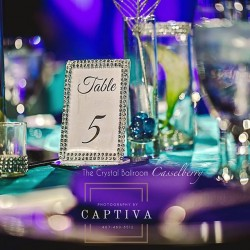Blue & Purple Wedding Reception Table at The Crystal Ballroom in Casselberry