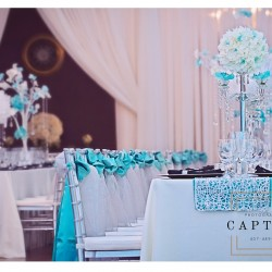 Blue & White Wedding Reception Design at The Crystal Ballroom in Orlando