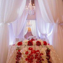 Red & White Wedding Decor at The Crystal Ballroom in Casselberry