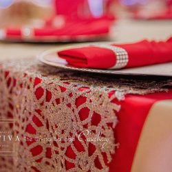 Red & White Wedding Table Decor at The Crystal Ballroom in Casselberry