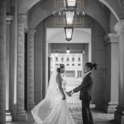 Bride & Groom Standing Outside of The Crystal Ballroom in Orlando