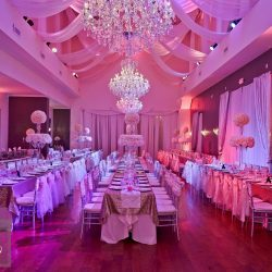 Pink & White Wedding Reception Decor at The Crystal Ballroom in Orlando