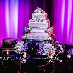 Wedding Cake in Banquet Hall at The Crystal Ballroom in Orlando