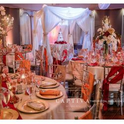 Reception decor at the Crystal Ballroom Altamonte Springs