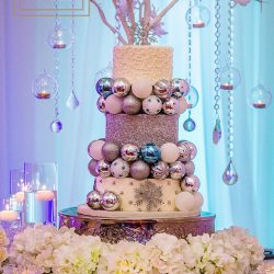 Wedding Cake & Wedding Reception Decor at The Crystal Ballroom in Orlando