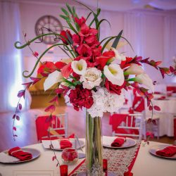 Red & White Flower Centerpiece at The Crystal Ballroom in Casselberry