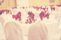 Banquet hall decorated for wedding