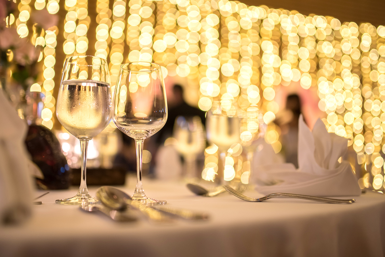 Soft focus romantic dinner wedding.