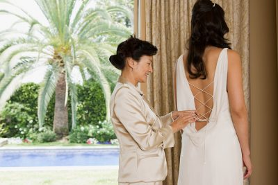 Introverted Bride and mother in a florida wedding venue