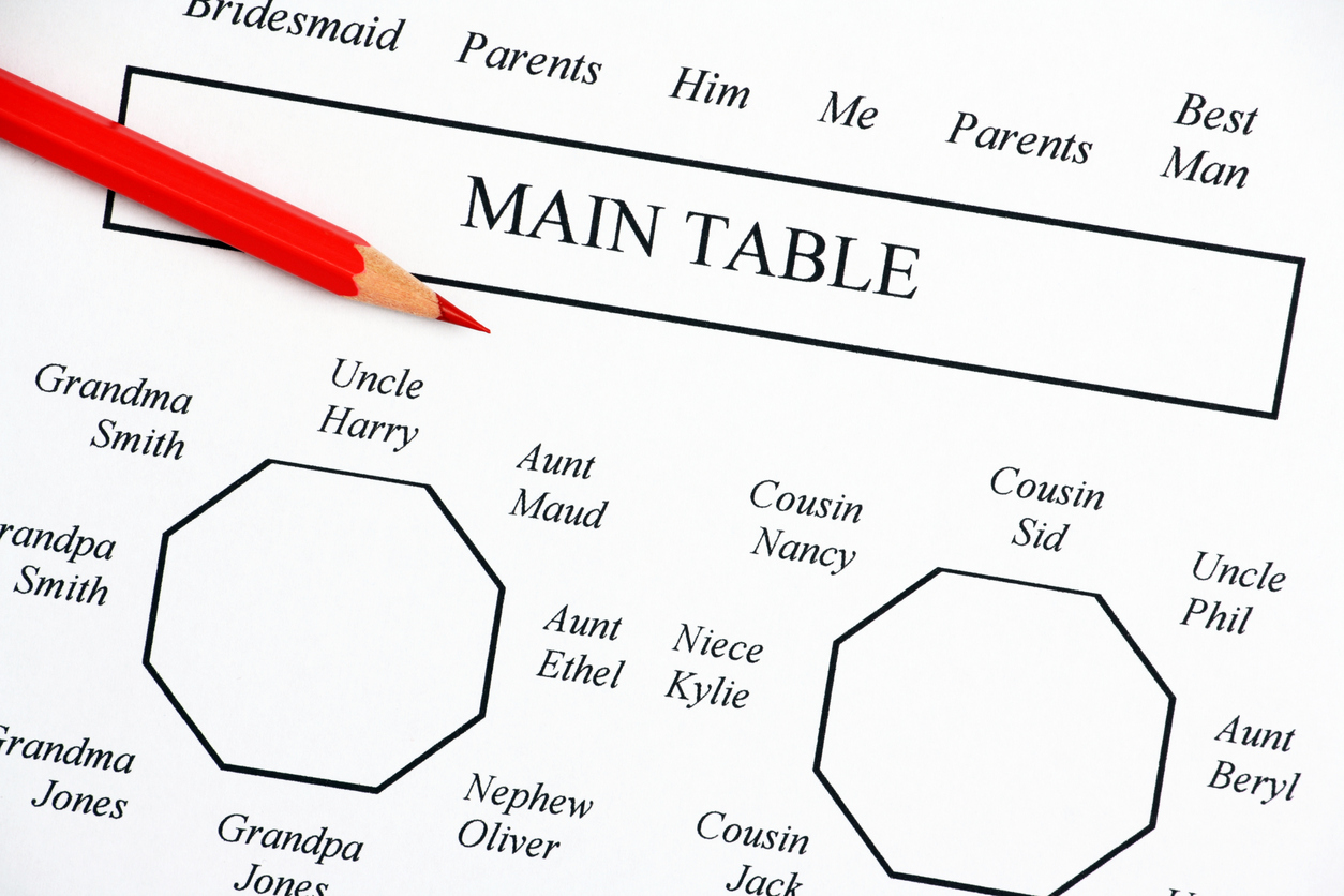 Close up of a wedding seating plan diagram showing the main tables for bride and groom and family members, with a red pencil handy for making those inevitable changes