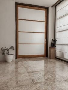 Freshly cleaned marble floor in an office.