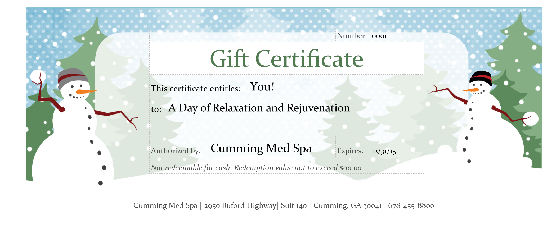 Spa packages gift certificates cumming med spa for This entitles the bearer to template certificate