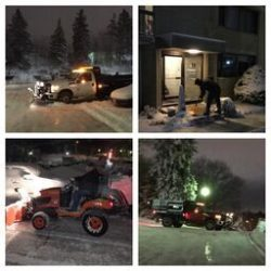 A combined image of what Cutting Edge Landscaping snow plowing and shoveling service can offer your residence or business.