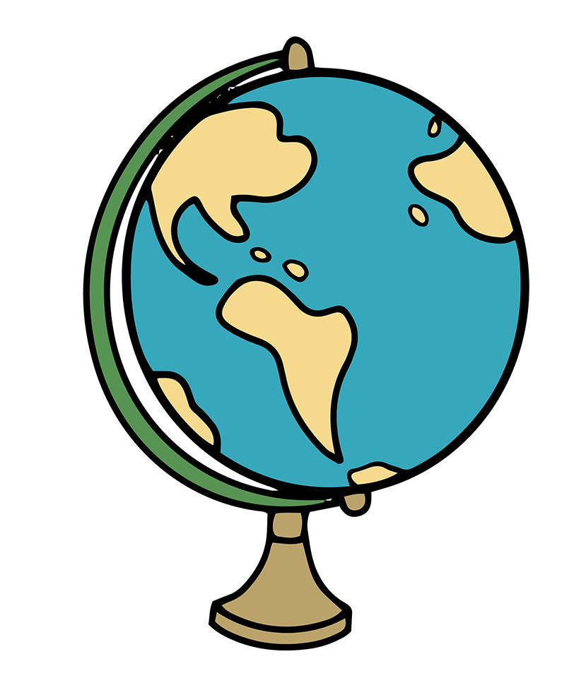 A vector image of a globe map of Earth.