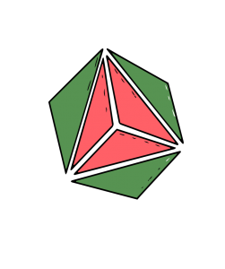 A vector image with three green triangles and three pink triangles.