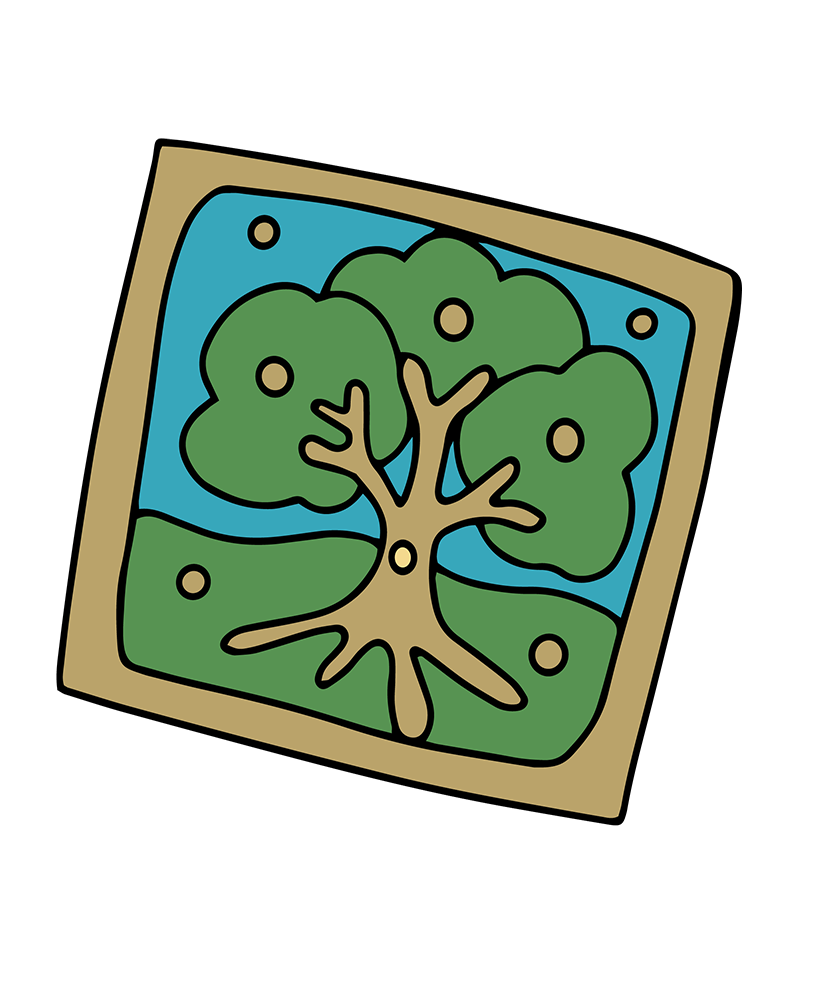 An illustrated image of a large tree.