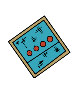 An image of a blue swath of cloth with brown buttons.